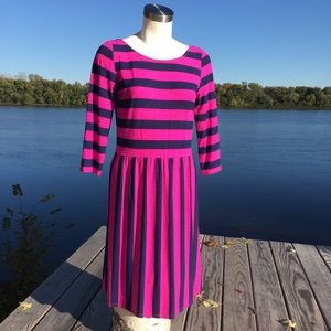 Lilly Pulitzer pink and navy stripped midi dress